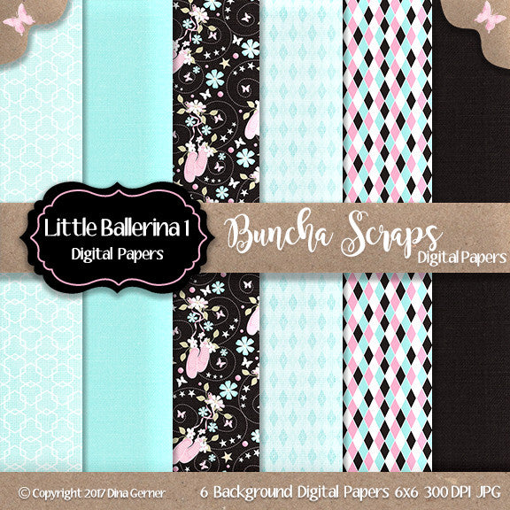 Little Ballerina 6x6 Digital Background Paper Collection1