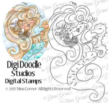 Misti Mermaid Digi Doodles Digi Stamp Instant Download Digital Stamp
