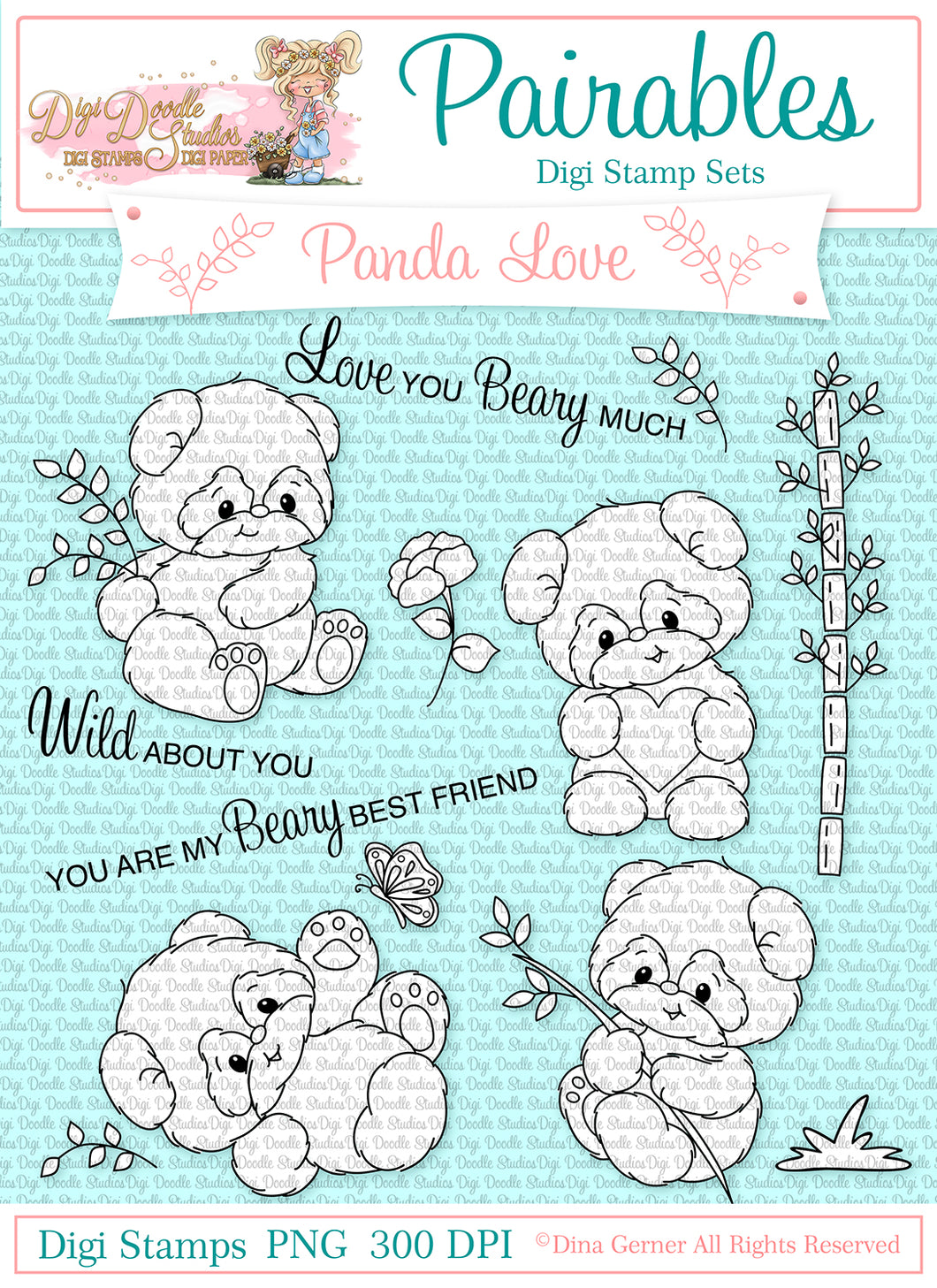 Panda Love Pairables Digi Doodles Digi Stamp Set