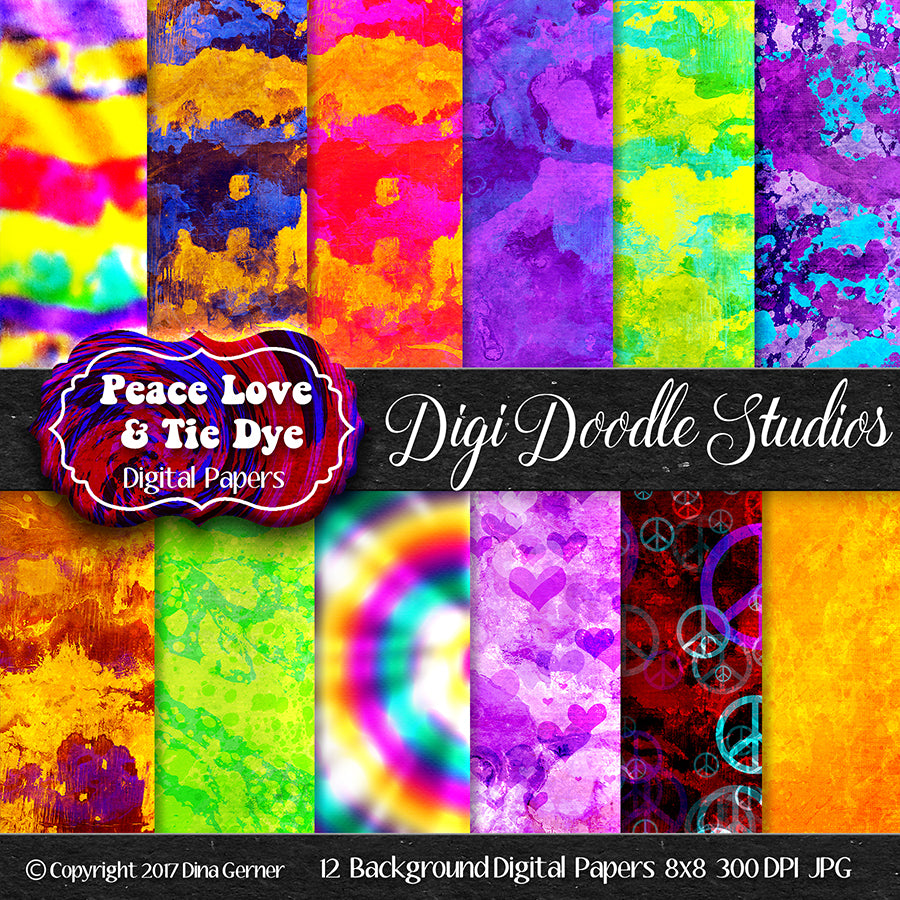 Digi Doodles Peace Love & Tie Dye 8x8 Digital Paper