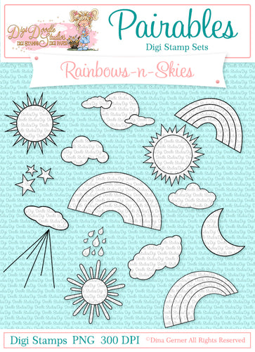 Rainbows-n-Skies Digi Doodles Pairables Scene Builders
