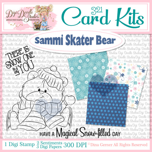 Sammi Skater Bear Digi Doodles 321 Card Kit