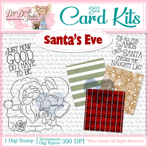 Santa's Eve Digi Doodles 321 Card Kit