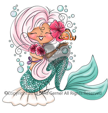 Digi Doodles Serina Mermaid Digi Stamp