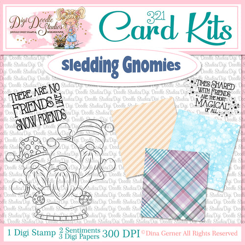 Sledding Gnomes Digi Doodles 321 Card Kit
