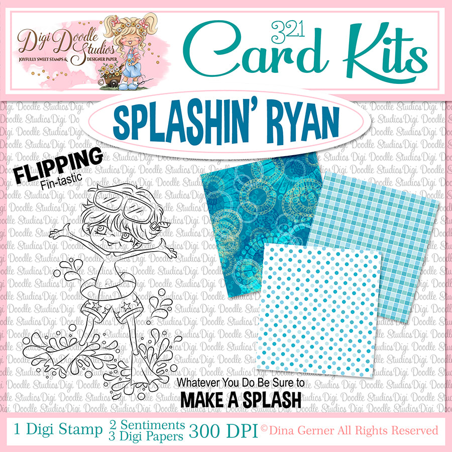 Splashin' Ryan Digi Doodles Card Kit
