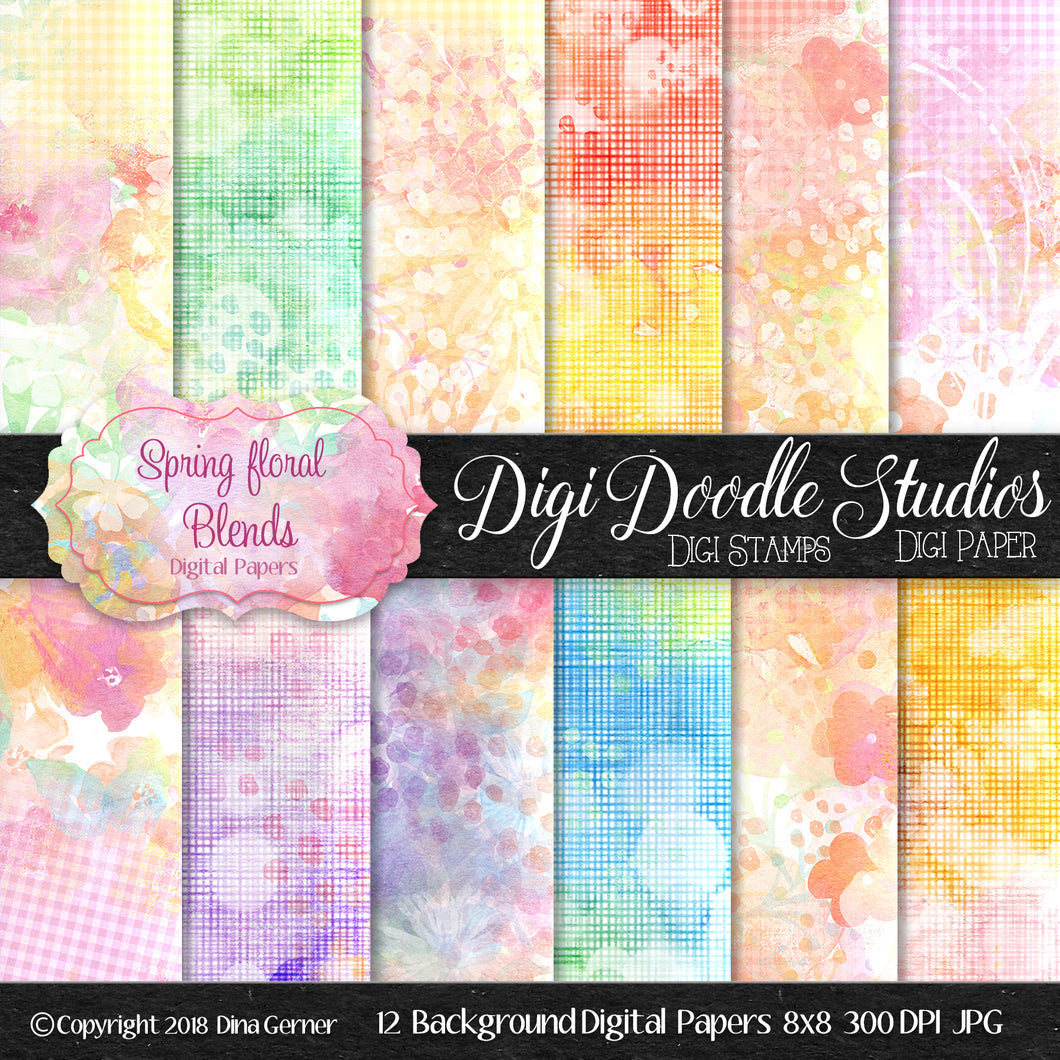 Digi Doodles Spring Floral Blends Background Paper