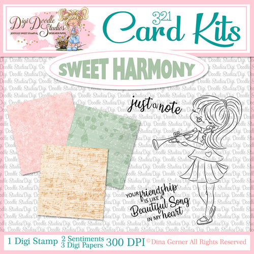 Sweet Harmony Digi Doodles Card Kit