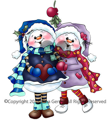 Tinsel Toes and Twinkle Berry Digi Doodles Snowman Couple Digi Stamp