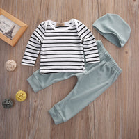 Long Sleeved Striped T-Shirt, Pants and Hat