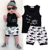 Newborn Baby Boys Summer Outfit Sleeveless Shark Top & Shorts
