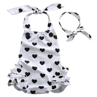 Baby Girl Heart Design Jumpsuit & Headband