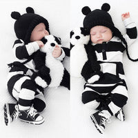 Long Sleeve Black & White Striped Romper Suit