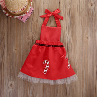 Baby Girl Striped Candy Bow Christmas Dress