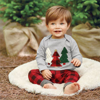 Christmas Clothing Set - Christmas Tree T Shirt & Long Pants in Plaid