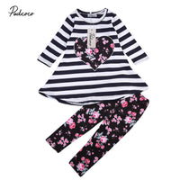 Girl's Long Sleeved Striped Top & Floral Leggings Outfit