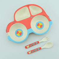 Car Shaped Bamboo Dinnerware Set for Baby