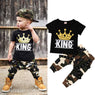 King Toddler Short Sleeve Tops & Camo Pants