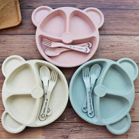 3Pcs Baby Bamboo Tableware