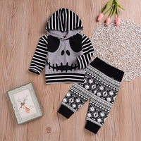 2019 Halloween Baby Striped Skull Hooded Top & Leggings Outfit