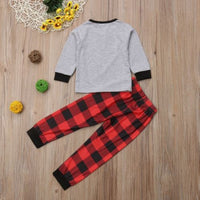 Christmas Baby Boy & Girl Long Sleeve Top & Checked Pants Outfit