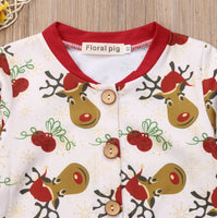 Reindeer Print Long Sleeve Romper Suit