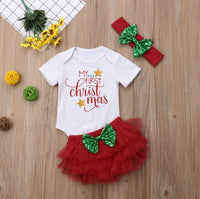 3 piece Christmas Baby Girl Romper & Tutu