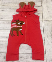 Christmas Reindeer Hooded Romper Jumpsuit