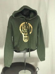 Belly Cut Hoodie - Olive Green & Gold