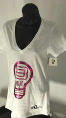 BBNYC Aluminum Collection; Women's V-Neck - White &Pink