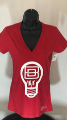 Red & White Women's V-Neck T-Shirt