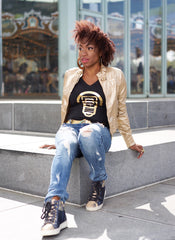 BBNYC Aluminum Collection; Women's V-Neck -  Gold