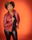 BBNYC's Women's Motorcycle Jackets - Burgundy