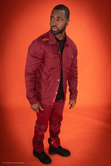 Burgundy Denim Jacket & Joggers