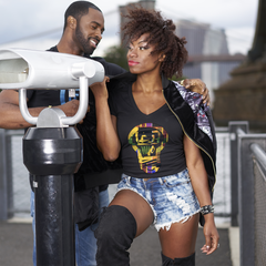 HERITAGE: Queen African Kente Print - Black V-Neck