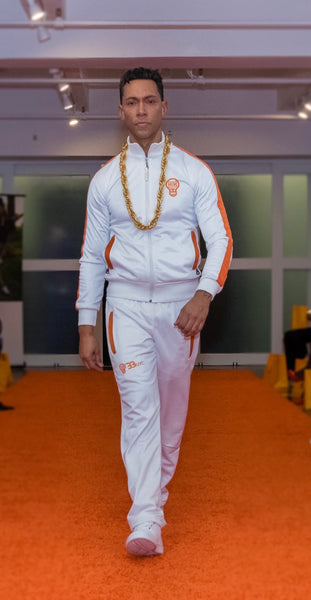 B-Boy Tracksuit - White & Orange (Embroidered & Lined)
