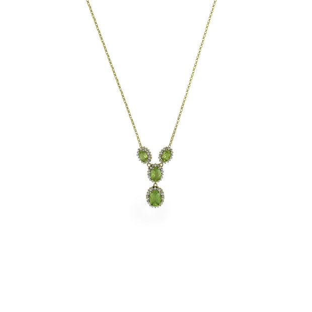 10K Yellow Gold Peridot and Diamond Accent Necklace