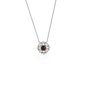 Garnet and Diamond Accent Necklace in Sterling Silver