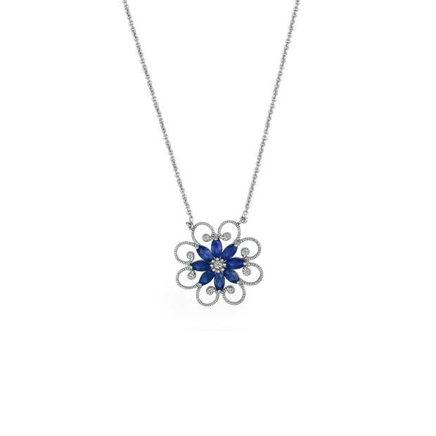 Created Sapphire and Diamond Accent Necklace in Silver