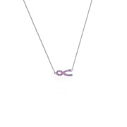 Created Pink Sapphire Necklace in Sterling Silver