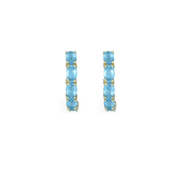 10K Yellow Gold Blue Topaz Earrings
