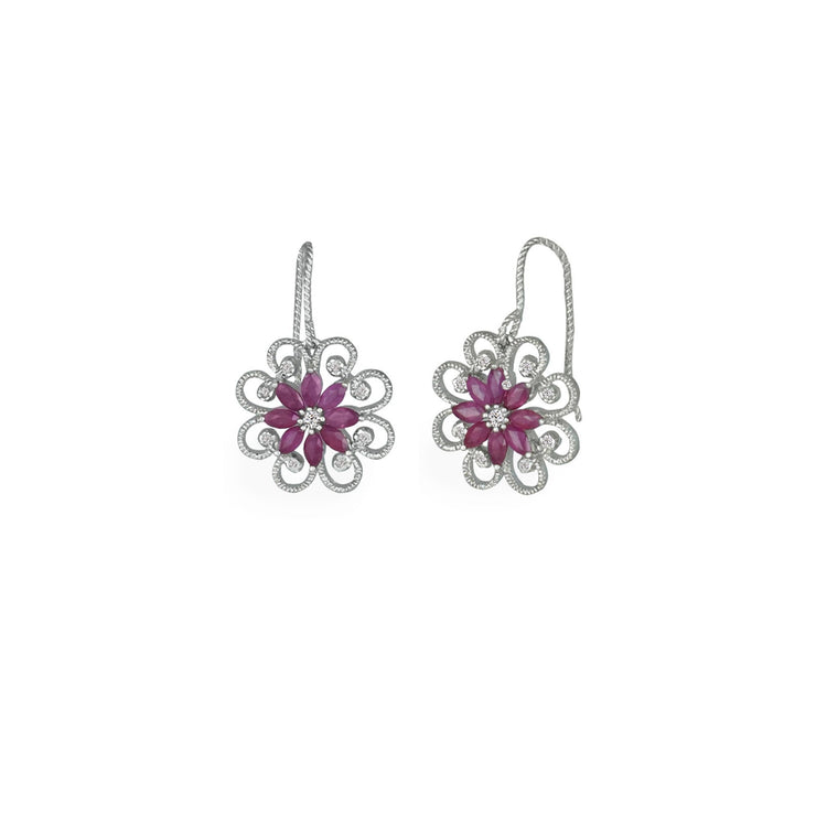 STERLING SILVER CREATED RUBY AND DIAMOND DROP EARRINGS