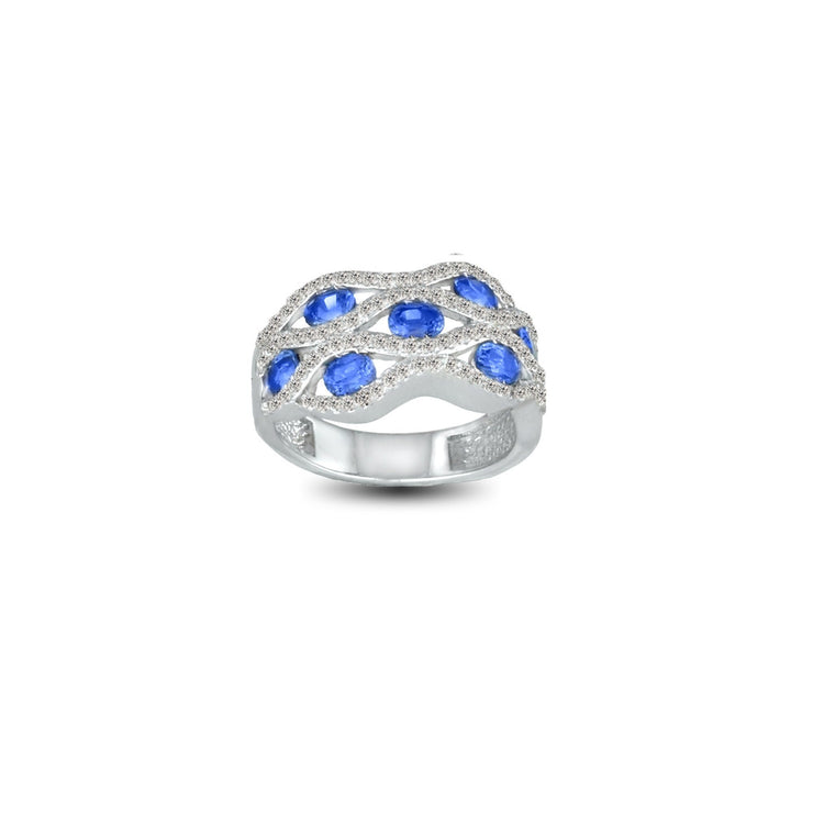 Created Blue and White Sapphire Fashion Ring in Sterling Silver