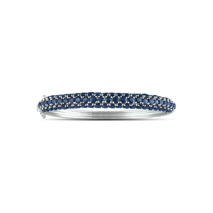 Genuine Sapphire and Sterling Silver Fashion Bangle