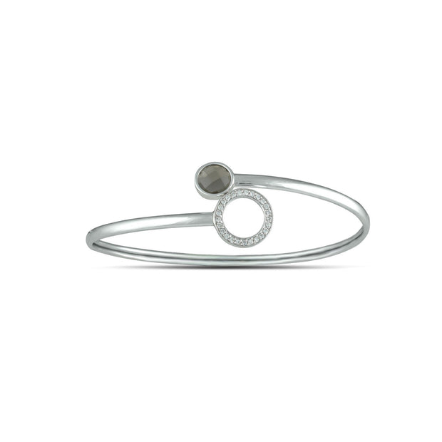 Smokey Topaz and Created White Sapphire Flex Bypass Silver Bangle
