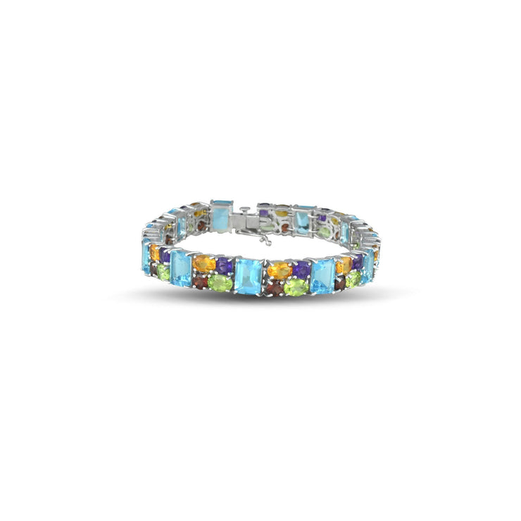 Sterling Silver Bracelet With Multi Colored Gemstones
