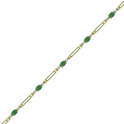Emerald and Diamond Accent Fashion Bracelet in 10K Yellow Gold