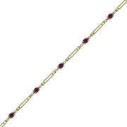 Ruby and Diamond Accent Fashion Bracelet in 10K Yellow Gold
