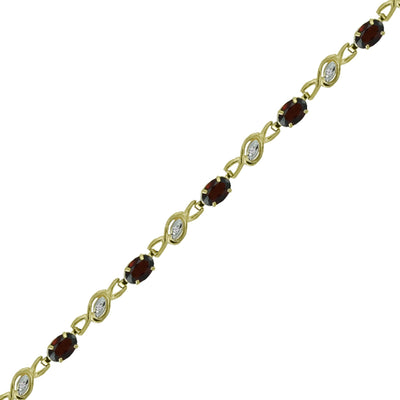 Garnet and Diamond Fashion Bracelet in 10K Yellow Gold