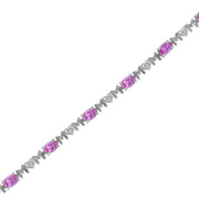 Created Pink Sapphire 'Mom' Bracelet in Silver